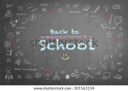 Back to school announcement with smiley face icon in pastel chalk color on green chalkboard with doodle cartoon liked freehand drawing: Green blackboard with chalk sketch drawing on school matters - stock photo