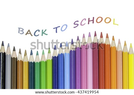 BACK TO SCHOOL / Back to school concept with color pencils - stock photo