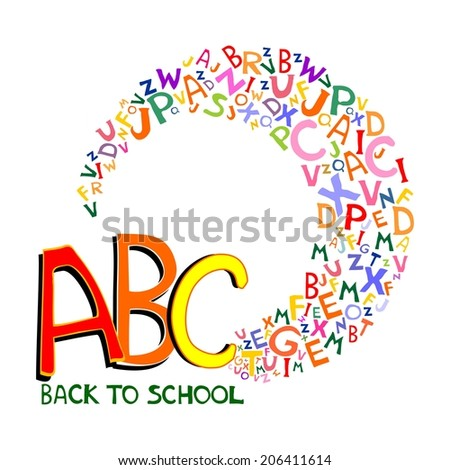 Back to school background. Abstract background with letters and place for your text.  illustration