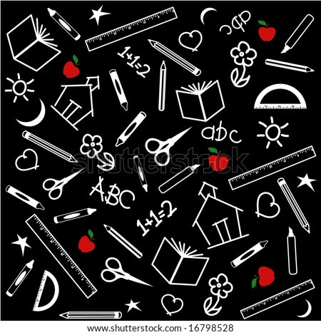 Back to School Background, black and white chalkboard, with red apples: books, rulers, crayons, pens, pencils, markers, scissors, protractor, schoolhouse, ABC, math, and doodles.