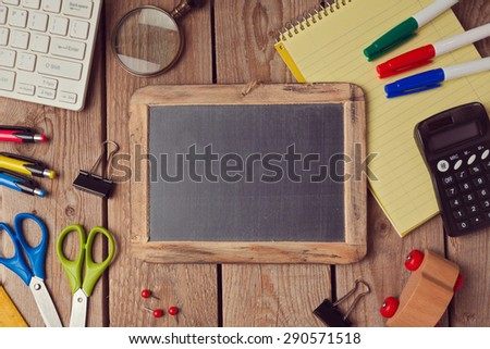 Back to school background with chalkboard. View from above - stock photo