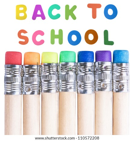 back to school background with  multicolored pencils erasers - stock photo