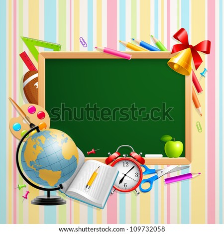 Back to school background with place for text and stationery. Check my portfolio for vector version.