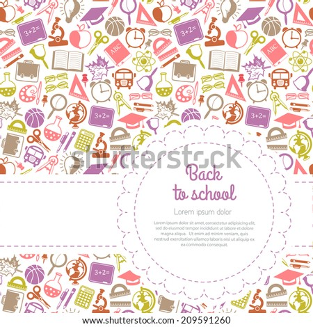 Back to school background with space for text, education icons - stock photo