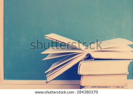 Back to school.Books - stock photo