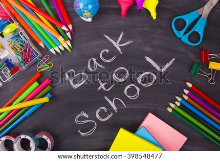 Back to School chalkboard and school supplies