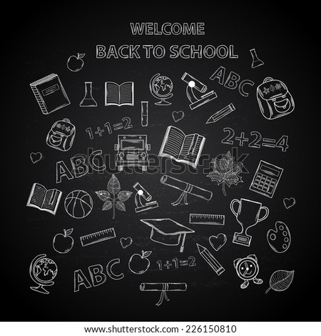 Back to school chalkboard sketch Education. - stock photo