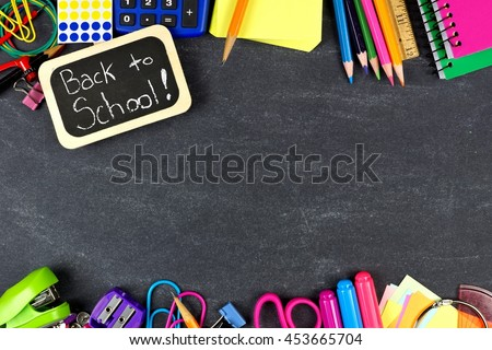Back to School chalkboard tag with school supplies double border on blackboard background - stock photo