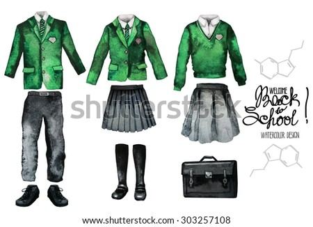 Back to school collection. Watercolor school uniform set isolated on white background. Male and female outfit in green color