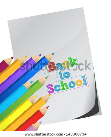 back to school, Color pencils and white paper illustration design over white - stock photo