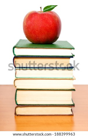Back to school concept. Apple on the books