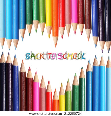 Back to school concept. Colorful pencils arranged as the heart, isolated on white. The words 'Back to School' written in the heart shape - stock photo