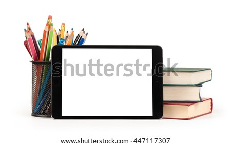 Back to school concept. Digital tablet with text area, pencils and books. Isolated on white background