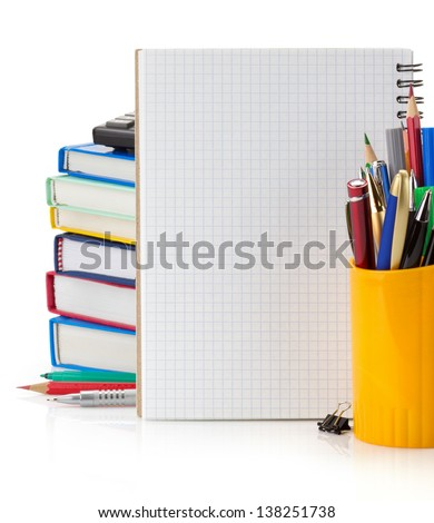 back to school concept isolated on white background - stock photo