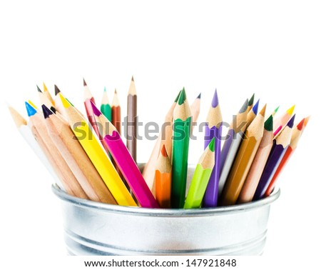 School concept many different colored rainbow pencils school supplies