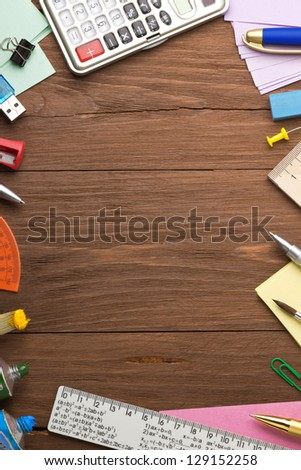 back to school concept on wood background - stock photo