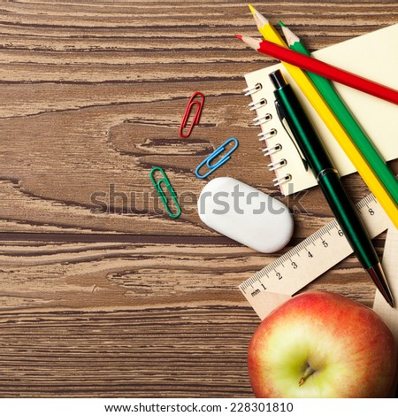 Back to school concept on wooden table. - stock photo