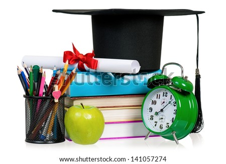 Back to school concept - school accessories. Isolated on white background. - stock photo