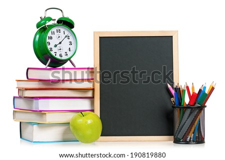 Back to school concept - school accessories. Isolated on white background.