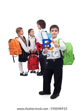 Back to school concept with a group of kids - isolated - stock photo