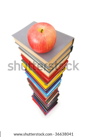 Back to school concept with books and apple
