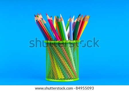 Back to school concept with colourful pencils - stock photo