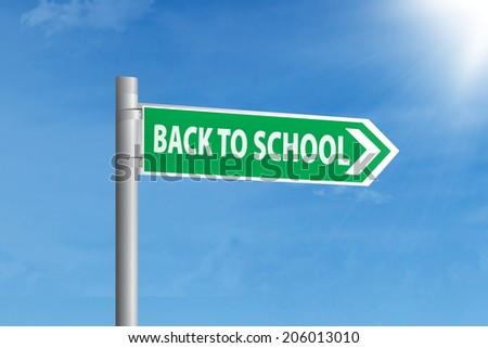 Back to school concept with guidepost to school