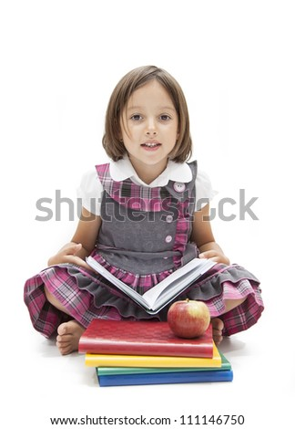 back to school concept with little school girl - stock photo