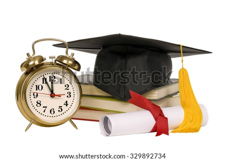 Back to school concept with school accessories. Isolated on white background/ Time To Go Back To School And Graduate Isolated - stock photo