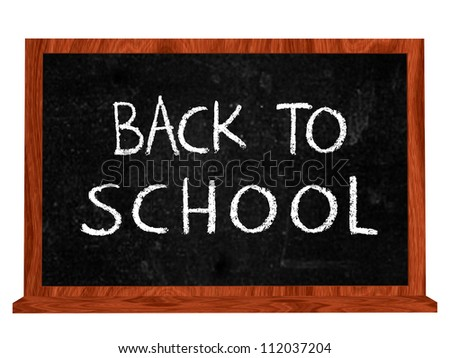 back to school 3d isolated blackboard with chalk text - stock photo
