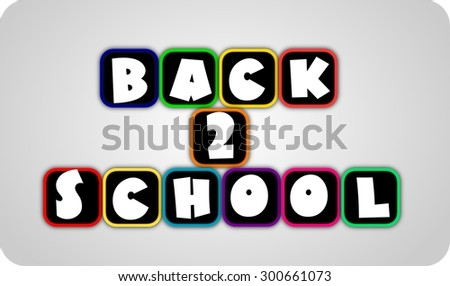 Back to school design color text blue green yellow pink orange purple pink