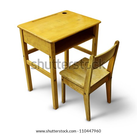 Back to school desk on a white background as a wooden vintage education furniture representing the concept of school children learning in a classroom. - stock photo