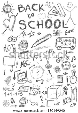 Back to school, doodle school symbols isolated on white background