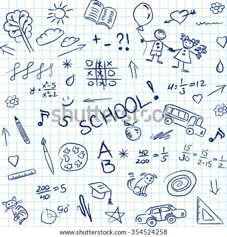 Back to school doodles in notebook, seamless pattern.