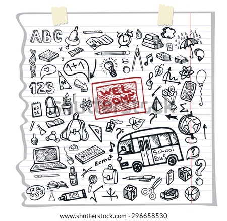 Back to School  doodles Supplies Sketchy Notebook pattern.Icons with Hand Drawing elements.Illustration,background,backdrop,Design template.Teachers day.Baby style,Education linear sketch - stock photo