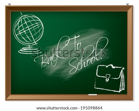 Back to school drawing on chalkboard hanging on the wall - stock photo