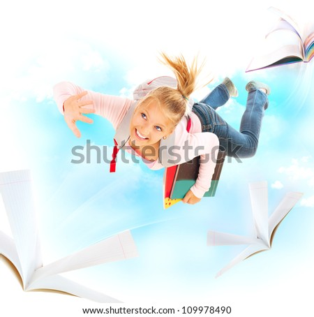 Back to School. Education Concept. Schoolgirl Flying With Her Books and Notebooks - stock photo
