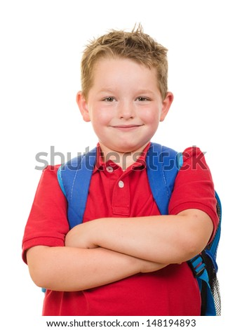 Back to school education concept with portrait of happy grade school student wearing backpack