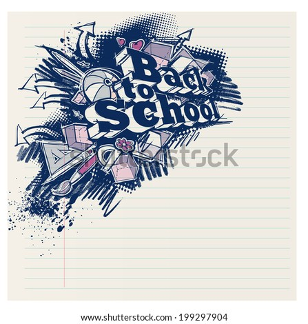 Back to school expressive label, grunge freehand sketchy style on notepad page - stock photo