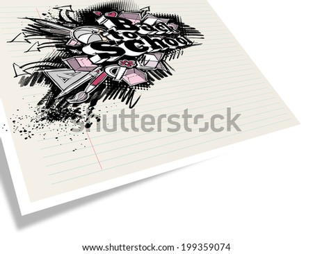 Back to school expressive label on notebook paper - in perspective, copy space left, grunge freehand sketchy style - stock photo