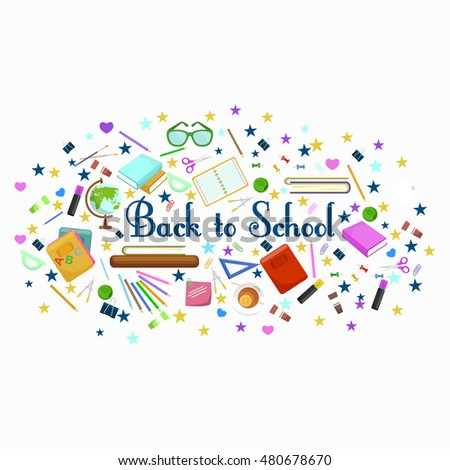 Back to school flat style background created from supplies
