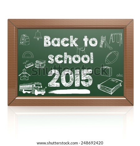 Back to school green blackboard image with hi-res rendered artwork that could be used for any graphic design. - stock photo