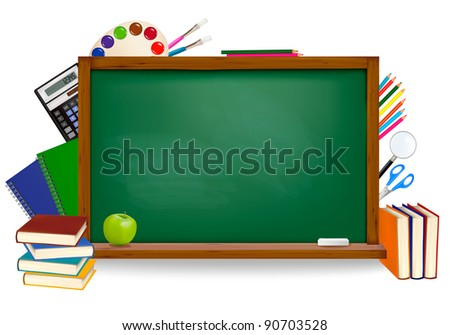 Back to school. Green board with school supplies. Raster version of vector.