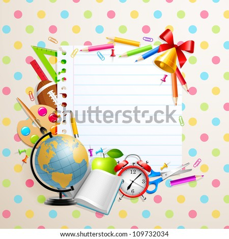 Back to school greeting card with stationery. Check my portfolio for vector version. - stock photo