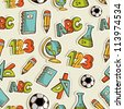 Back to School hand drawn icon set seamless pattern. - stock photo