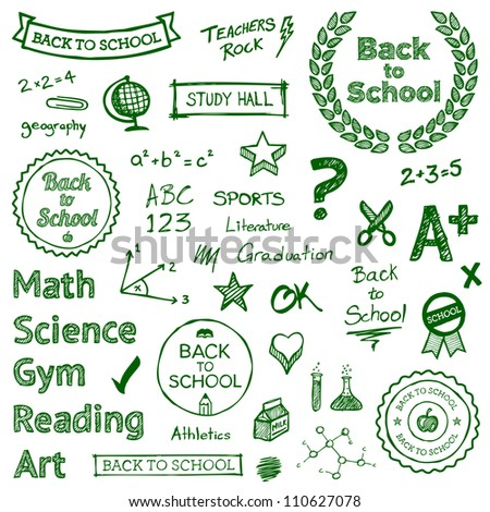 Back to school hand drawn text lettering and icons - stock photo