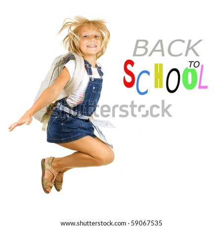 Back to School.Happy Pupil Jumping.Isolated on white - stock photo