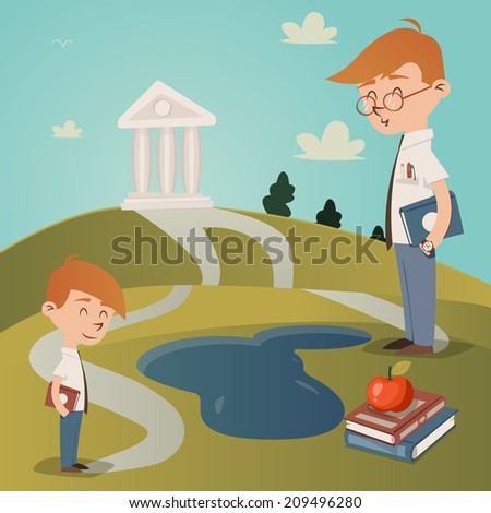 Back To School illustration with a cute little boy with a textbook under his arm standing on a path leading to a college building on a hilltop watched by his teacher as he walks to school - stock photo