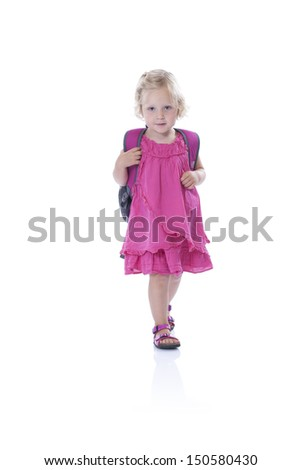 back to school, little girl with backpack, isolated on white background