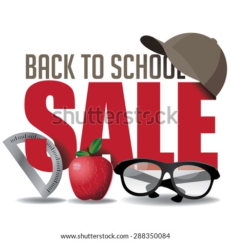 Back to School marketing header. Illustration for greeting card, ad, promotion, poster, flier, blog, article, social media, marketing - stock photo
